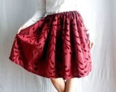 Red full circle skirt in taffeta with velvet print - One size - One of a kind