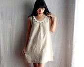 Beige linen tunic dress tshirt dress in natural linen