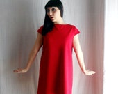Hot red aline dress in jersey - 60s vintage inspired - Valentine's day - Last piece S/M