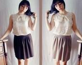 Reversible pleated skirt - aline skirt knee skirt womens skirt