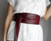 Wine burgundy vegan leather obi belt, Marsala belt, burgundy obi belt,faux leather belt,sash belt,womens accesories,alicecloset,red obi belt