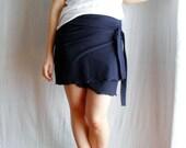 Dark blue wrap skirt, Mini skirt, Jersey skirt,  Blue skirt, Maternity clothing, Casual skirt, Womens clothing