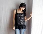 Black lace tank camisole - Spring fashion