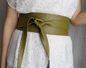 Green vegan leather obi belt - green obi belt faux leather belt
