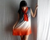 Sailor tunic dress in orange,white and grey Ombrè fabric - One of a kind - vintage inspired