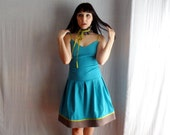 Turquoise slip dress - blue formal dress color block dress pleated dress