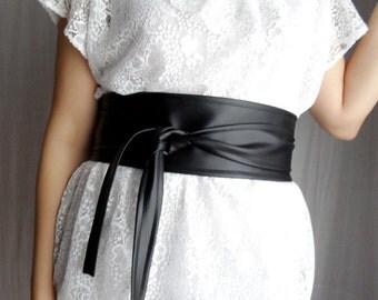 Black obi belt, faux leather belt, black sash belt, boho belt, vegan leather obi belt