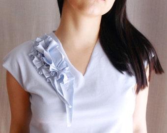Light blue cotton tshirt, short sleeve tshirt, womens tank top, blue top, short sleeved top, cotton top,tank top