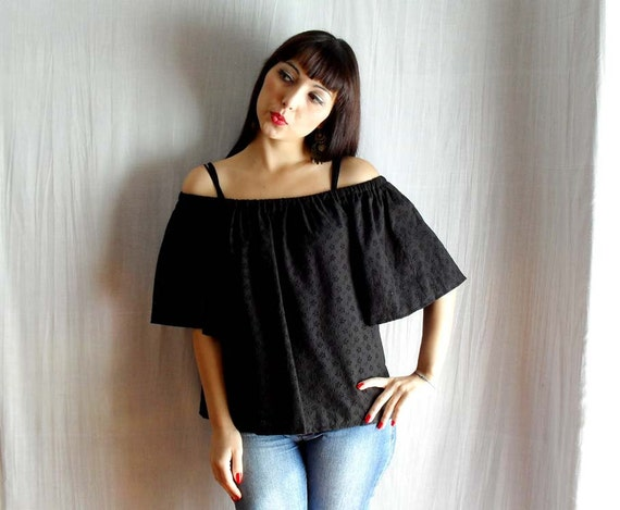 Black tank tshirt lace - Size from S to XL