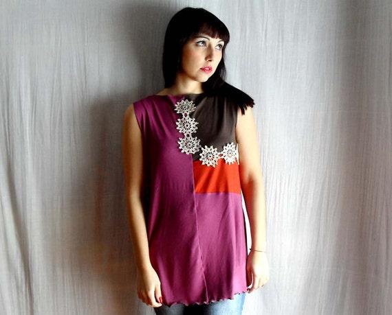 Color block tank top in orange brown pink tshirt top with crocheted applique