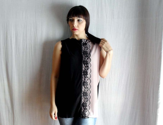 Black-pink tank tunic with lace trim - OOAK - Ready to ship