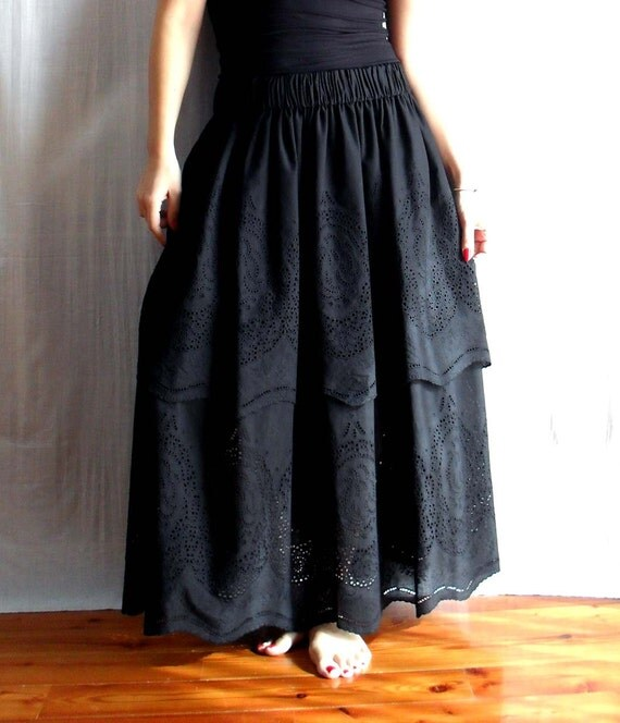 Black long skirt boho skirt - maxi skirt black long skirt womens skirt