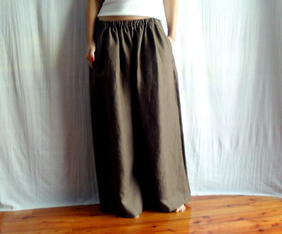 Brown wide leg pants - linen-cotton - Size M - Last piece