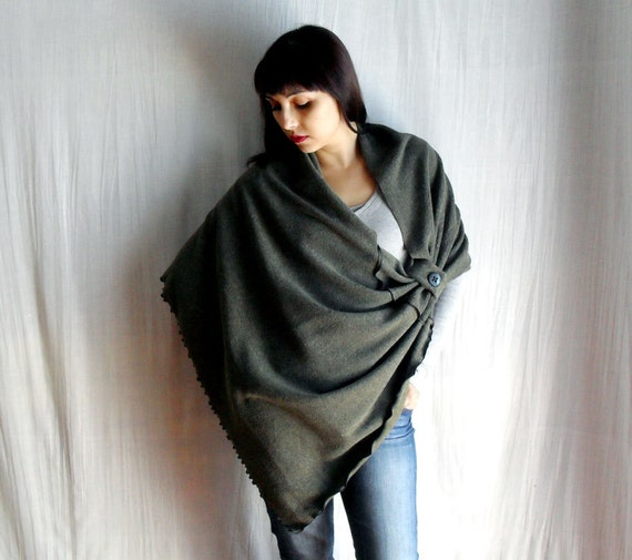 RESERVED - Grey wool poncho, fleece poncho, womens ponchos, poncho sweater, grey cardigan, wool capelet, shrug boleros, grey poncho
