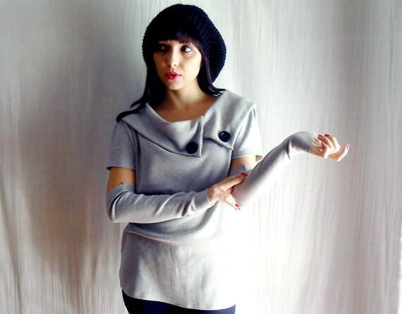 Grey sweatshirt sweater - fleece top grey sweater jumper top womens tshirt