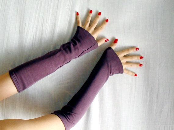 Purple mauve fingerless gloves, wool long gloves, arm warmers, purple mittens, purple gloves, wool gloves