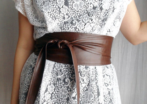 Brown obi belt in vegan leather - brown obi belt faux leather belt plus size obi belt