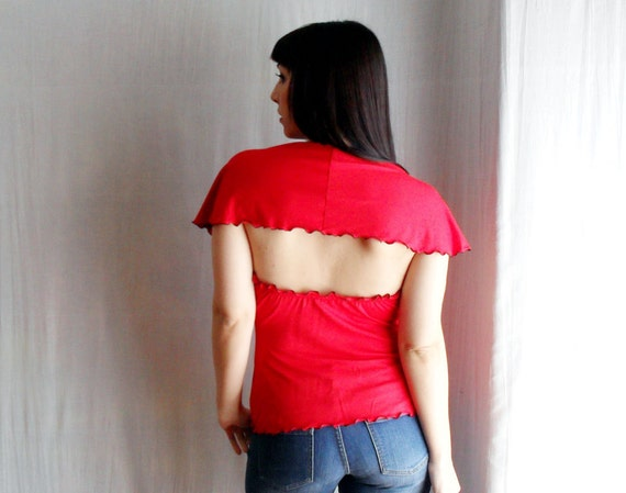 Hot red jersey top with open back - One of a kind