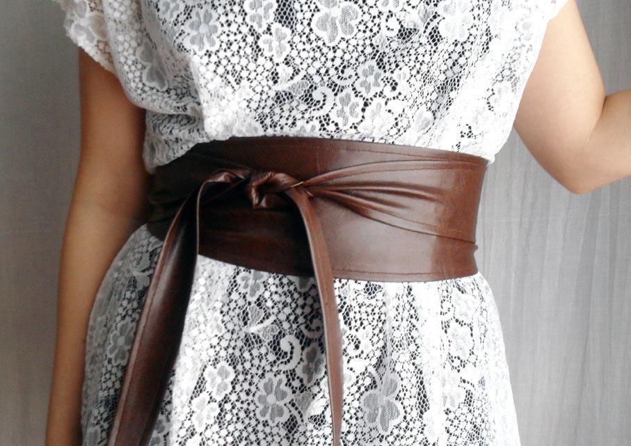 brown obi belt in vegan leather brown obi belt faux leather