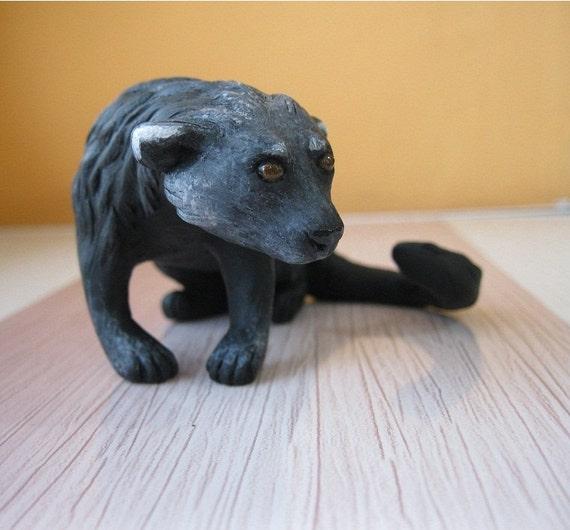 Binturong MADE to ORDER figurine Ooak polymer clay Bearcat sculpture Art doll Miniature spirit animal Handmade figure Totem