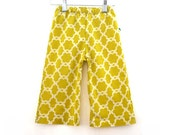 Toddler pants green yellow size 2-3yrs floral print cotton baby trousers girls funky spring lemon lime wide leg easter