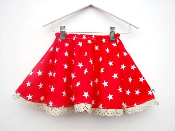 Red star print skirt bright colorful toddler dress girls childrens clothing elasticated waist size 12 18 24 months 2 3 4 5 years