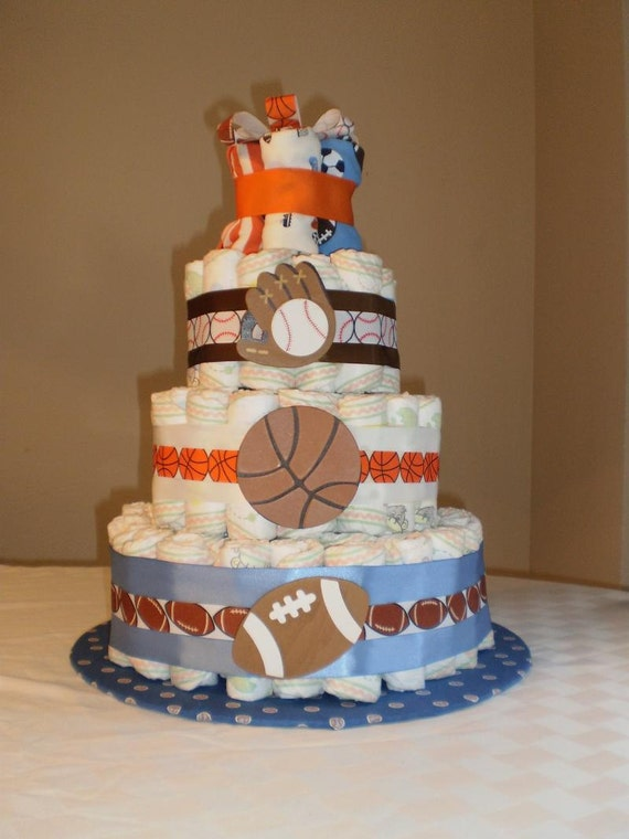 Items similar to sports theme diaper cake on etsy for Baby diaper cake decoration
