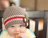 Buckeye Ohio State Nub Tip Beanie  (Crocheted to Order in sizes NEWBORN- TODDLER)