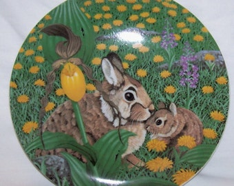 Rabbit porcelain plate  by Artmark  Signed Steven Shachter
