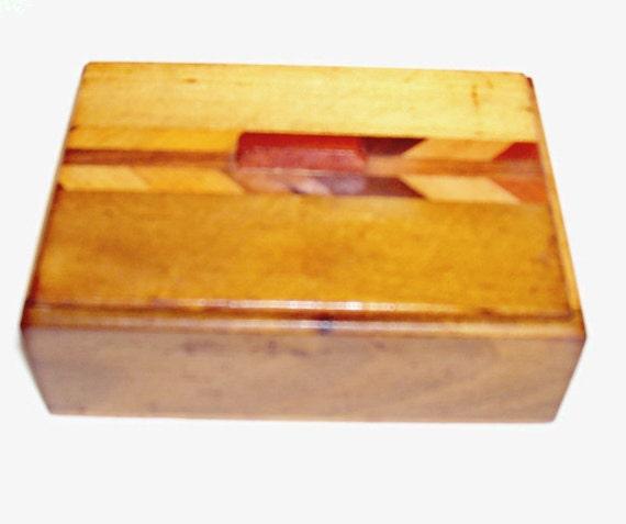 Wooden  box with arrow shape inlay