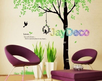 New Vinyl Wall Decals Tree Wall Stickers Tree Fresh Green Black Tall Tree Decal Decor - Bird Nest 91 inches (H) x 106 inches (W)