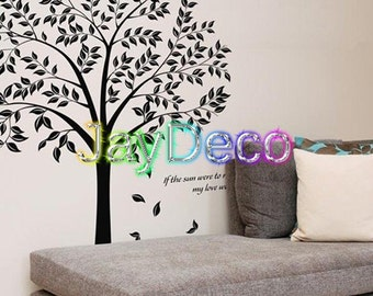 Vinyl Wall Decals Wall Stickers Tree Wall Decal Decor Brown or Black Big Trees - Tree with & 3 Birds 71 Inches (H) x 106 Inches (W)