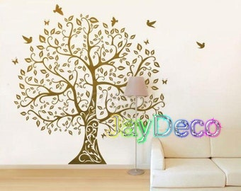 Vinyl Tree Wall Decals Tree Wall Stickers Tree Interior Decal Home Decor Winter Tall Tree Large Tree Brown - 79 inches (H) x 73 inches (W)