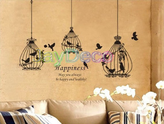 Vinyl Wall Decals Removable Wall Stickers Black Brown Grey or White Bird 3 Cages Decal Home Decor  - 79 inch (H) 118 inch (W)