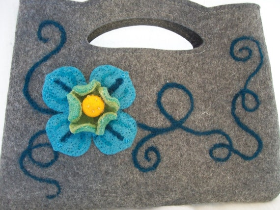 Deep Gray Felt Clutch with Turquoise Flower