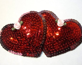 Red Heart Pasties - Red/Pink Sequins and Roses - Burlesque