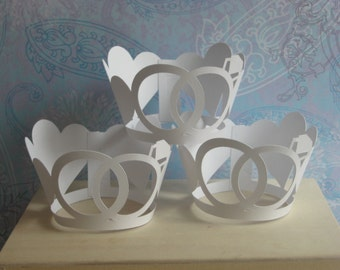 Decorative Wedding Rings & Hearts Cupcake Wrappers
