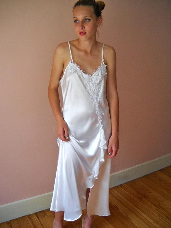 Vintage Lingerie Bridal White Satin  1980's  X Cross Back 3/4 Gown Size Medium -  Nights in White Satin - VL9