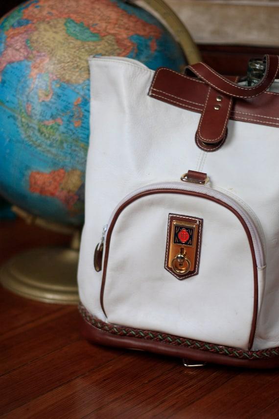 Biasia Francesco White Leather Bag