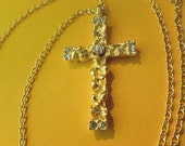 Gold Nugget Cross, Cross with Rhinestone, Textured Gold Cross Pendant, Vintage Cross Neck Chain