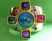 Jeweled Cross Vintage Gold Cuff Bracelet