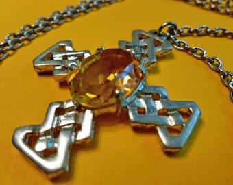 Supersize Gold Cabochon Celtic Silvertone Cross Medallion, Cross & Neck Chain, Vintage Cross Necklace, Silver Celtic Cross