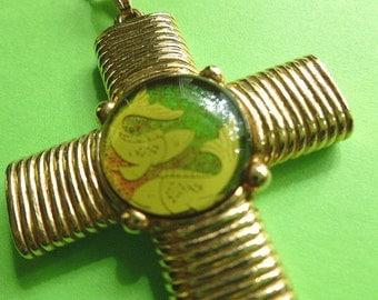 Designer Zodiac Cross, Pisces Cross Pendant, Astrology Cross & Neck Chain, Collectors Jewelry