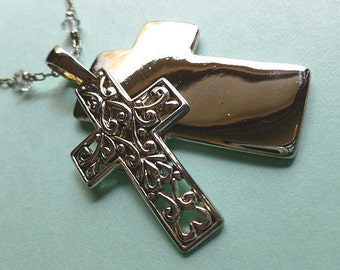 TWO For ONE Silver Cross, Vintage Silver Cross Pendant, Designer Cross & Signed Neck Chain, Silver Cross Necklace, Openwork Filigree Cross