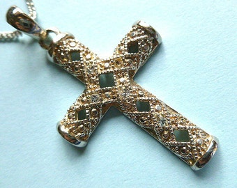 Twotone Gold & Silver Cross Pendant, Marcasite Cross with Rhinestones, Vintage Cross and Neck Chain, Silver Cross Necklace, Openwork Metal