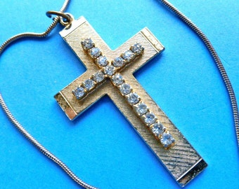 CROSS on CROSS, Goldtone Rhinestone Cross, Vintage Cross Necklace, Cross Pendant & Chain, 1980s Cross Necklace, Gold Cross, Two in One Cross