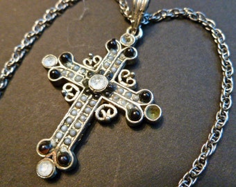 SALE-Black & White Beaded Silvertone Vintage Cross, Cross Pendant with Crystals, Cross and Neck Chain, Cross Necklace
