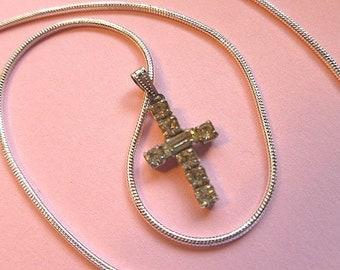 Designer Petite Sterling Silver Rhinestone Cross, Signed Vintage Cross, Vintage Cross with 925 Sterling Neck Chain