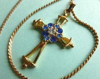 Bethlehem Cross, Blue & Clear Rhinestones Goldtone Cross, Vintage Cross and Neck Chain Cross Necklace