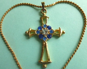 BETHLEHEM CROSS, Blue Rhinestones Goldtone Cross, Vintage Cross and Neck Chain Cross Necklace, Religious Goldtone Cross, Gold Necklace